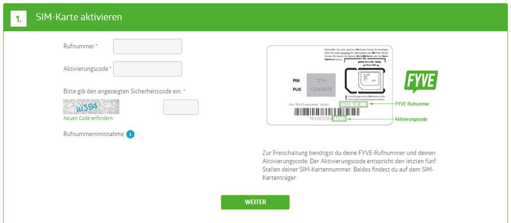Fyve-SIM-Karte-aktivieren