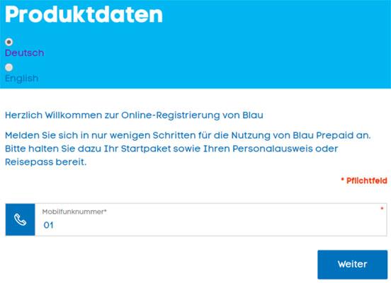 Blau Prepaid SIM Karte freischalten