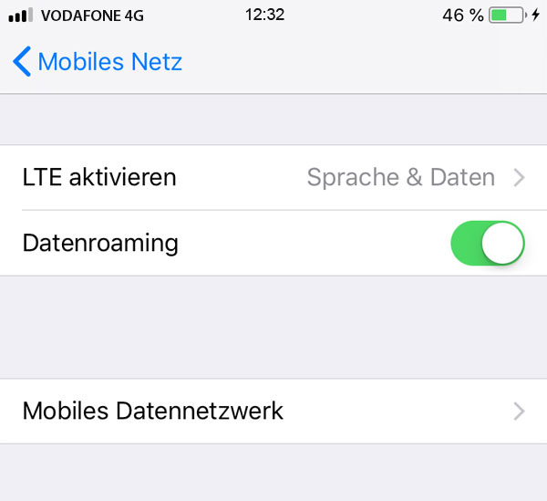 Datenroaming iphone